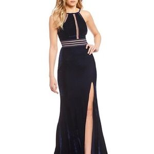Jodi Kristopher Dresses - Navy velvet evening gown with slit